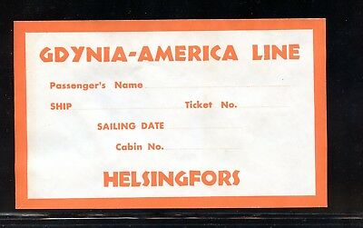 """6"""" Poster Stamp Luggage Label Gdynia America Steamship Line Helsingfors Finland"""