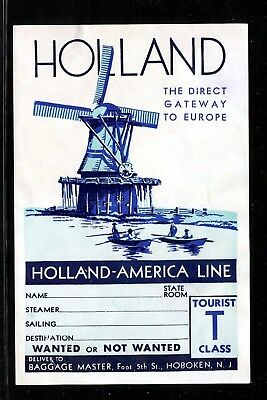"""6.5"""" Poster Stamp Luggage Label Holland America Steamship Line Tourist Windmill"""