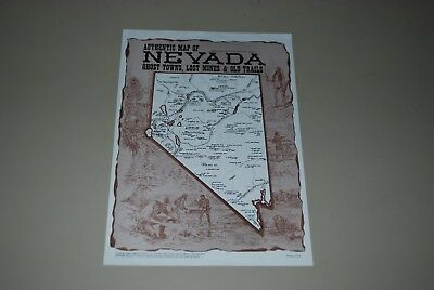 Vintage 1976 Authentic Map of NEVADA Ghost Towns, Lost Mines & Old Trails
