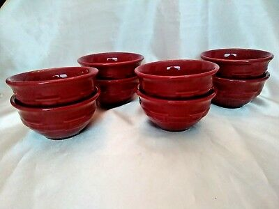 Longaberger - Pottery Woven Traditions - 8 Paprika Red Dessert Fruit Bowls