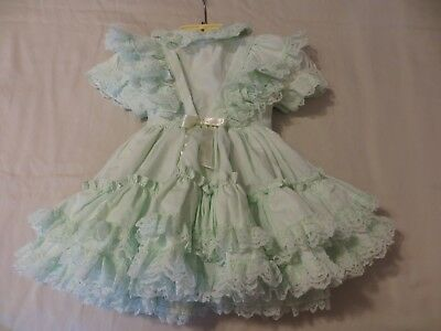 VINTAGE Girl's 2T Light Green Frilly Full Circle BETTY ODEN Made USA Dress