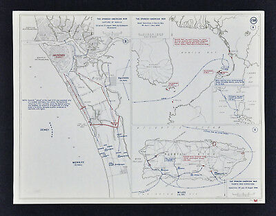 West Point Map - Spanish American War Battle of Manila Philippine & Puerto Rico