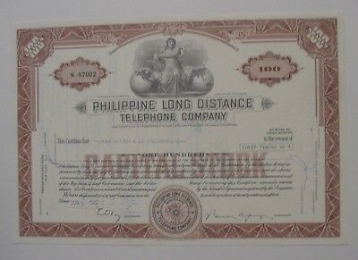 1972 Philippine Long Distance Telephone Company Brown Stock Certificate