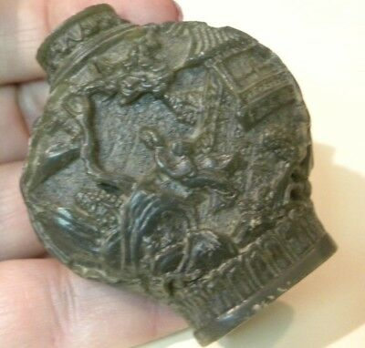 "Soap Stone Carved Ornate Snuff Bottle 2 1/8"" Tall 2"" Across No Lid"