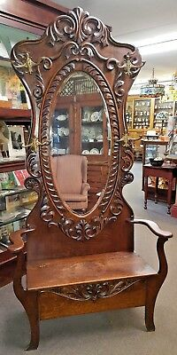Antique OAK HALL SEAT TREE Bench Large Beveled Oval Mirror Double Hooks