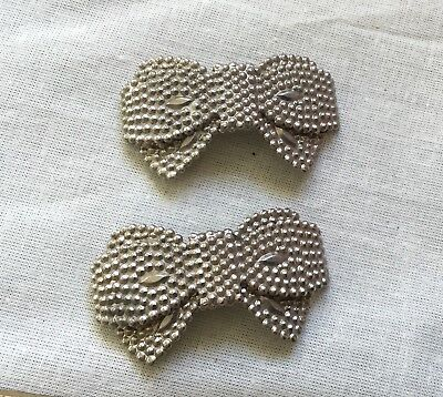 Antique 1920s shoe clips BOW shape punched metal
