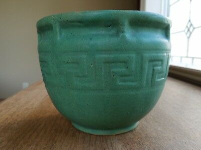 "Unmarked 6"" Matte Green Arts and Crafts Art Pottery Brush Greek key design pot"