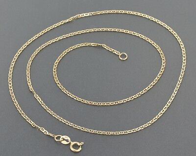 """Delicate 14K Solid Yellow Gold 1.4mm Mariner Link Chain 17.75"""" Necklace 2.3 Gram"""
