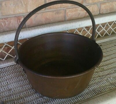 Antique Copper Cauldron Pot Bucket - Vintage Cast Iron Handle