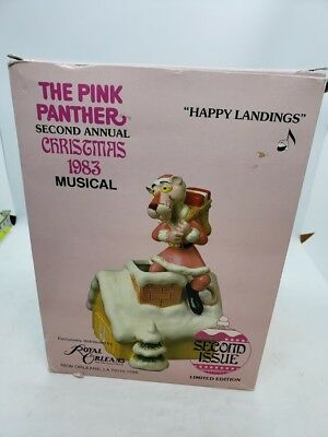 PINK PANTHER Happy Landing's 1983 Royal Orleans Christmas Santa Musical Figurine