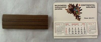 Scarce 1972 Continental Airlines Air Micronesia Calendar w Stand DC-10 Airliner