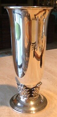 Gorham Quaker Sterling Silver Large Vase with Acanthus Leaves Not Weighted 10 +""