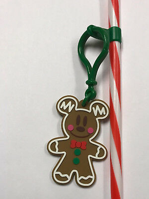 Disney Disneyland 2018 Christmas Mickey Mouse Gingerbread Man Clip with Straw