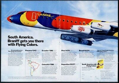 1974 Alexander Calder painted plane photo Braniff International vintage print ad