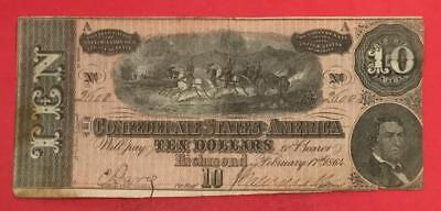 1864 $10 US Confederate States of America FINE! Old US Paper Money Currency