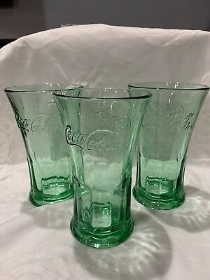 Set of 3 Vintage Coca Cola Coke Flared Heavy Drinking Glass Libbey Tumblers 16oz