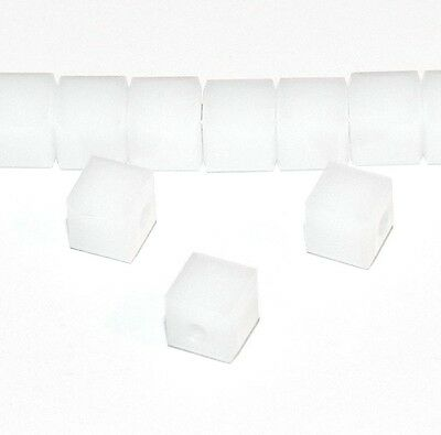 SCC190 White Alabaster 4mm Faceted Square Cube Swarovski Crystal Beads 12pc
