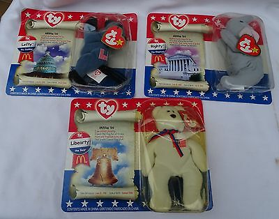 TY 3 BEANIE BABIES McDonald's AMERICAN TRIO 1996 LIBERTY LEFTY RIGHTY 20 Yrs NEW