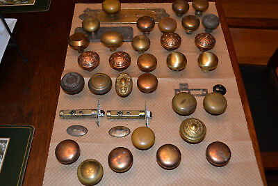 Lot of Antique Door Hardware, Knobs,,brass ,metal  and Plates AS IS.     # SIX