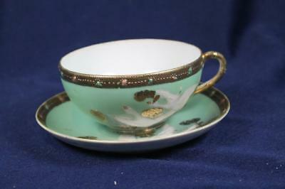 Nippon Cup & Saucer Hand Painted White Swans In Flight W/ Gold Trim