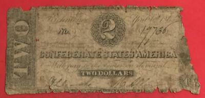1863 $2 US Confederate States of America! Rough! Old US Paper Money Currency