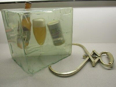 Vintage Falstaff Beer Ice Cube & Tongs Back Bar Advertising Sign w/ Bottle & Can