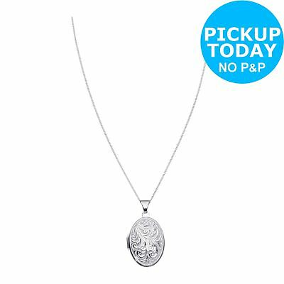 Moon & Back Sterling Silver Oval Family 4 Photo Locket 18 Inch Necklace