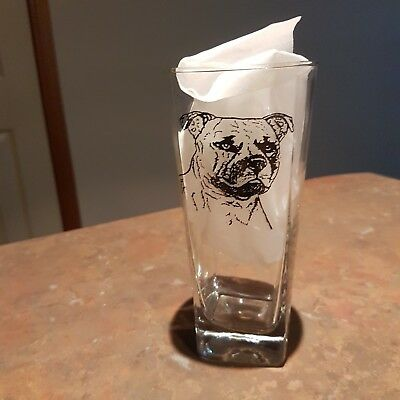 Staffordshire Terrier Dog Design Tumbler Glass -  NEW - CHOICE OF 2! MUST L@@K!