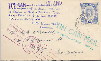 Tonga attractive 1936 Tin Can Mail cover to New Zealand