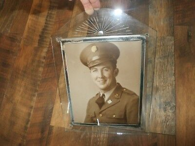 Vintage Antique Art Deco Glass Stand-Up Picture Frame w/ WWII Veteran Photograph