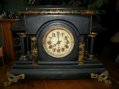 Antique American Wooden Wall Clock To Restore Or For Spares