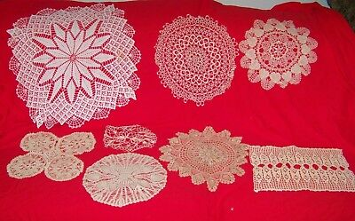 19 vintage & Modern Lace Crochet doiles Some Unsual