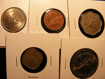 Muscat & Oman - 5 Different Coins - Higher Grades