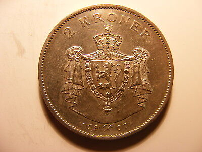 Norway 1907 Silver 2 Kroner, UNCIRCULATED, KM#365, One Year Type Coin