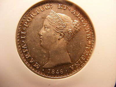 Portugal 1846 Silver 500 Reis, Uncirculated - MS-61, KM#471, MINTAGE ONLY 74,000