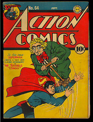 Action Comics #64 Nice Original Owner Intro. Toyman Superman DC 1943 VG+
