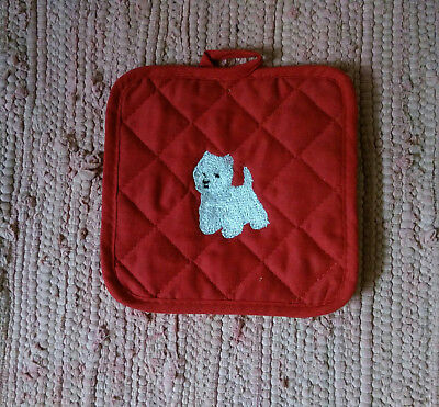 Westie West Highland Terrier Red Quilted Potholder