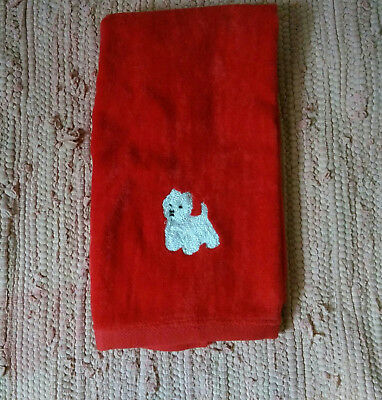 Westie West Highland Terrier Red Velour Hand Towel
