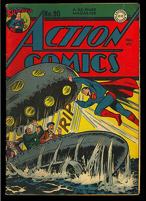 Action Comics #90 Nice Original Owner Golden Age Superman DC 1945 VG-FN