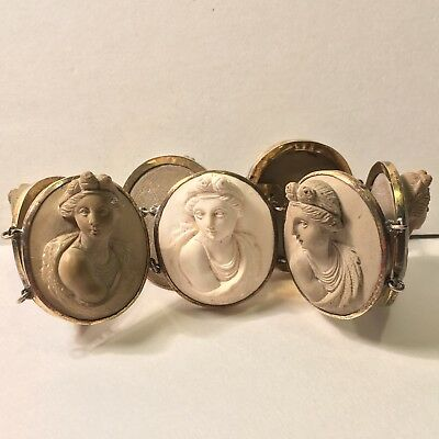 Antique Victorian Lava Cameo Gold Plated Bracelet - 7 Cameo Faces