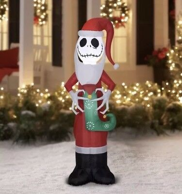 Holiday Time Inflatable Jack Skellington Santa Suit Stocking 5.5 FT Christmas