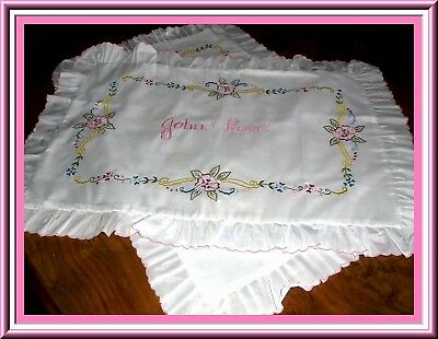 Gorgeous Embroidered Unused Pillow Shams With Pink Floral Design