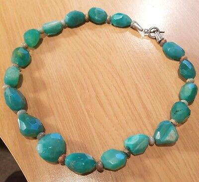 Heavy and chunky Aqua Chalcedony roughcut faceted necklace  20 inch    18 chunks
