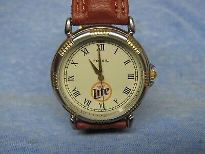 Men's MILLER LITE Advertising Watch by FOSSIL w/ New Battery