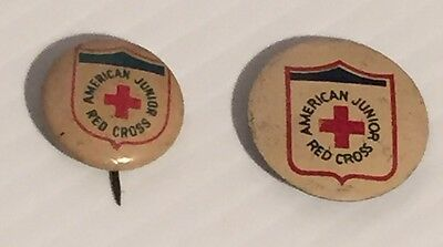 Pair of Vintage American Junior Red Cross Small Pins Buttons 1940's-1950's
