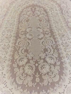 """Lovely Vintage Shabby Cottage Off White Oval Lace Tablecloth 54"""" x 90..Perfect"""