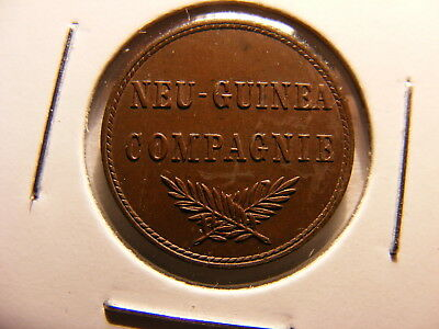 New Guinea, Germay, 1894-A, 1 Pfennig, KM#1, UNCIRCULATED slight red in devices