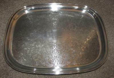 """Vintage Tray """"divisional Officer London Fire Service"""" 1969  Silver Plated"""