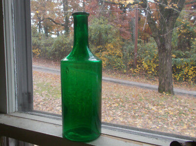 "C.L.G.CO EMERALD GREEN 8 5/8""COLOGNE OR BARBER BOTTLE HAND BLOWN 1890s"