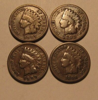 1887 1888 1889 1890 Indian Head Cent Penny - Mixed Condition - 47SU